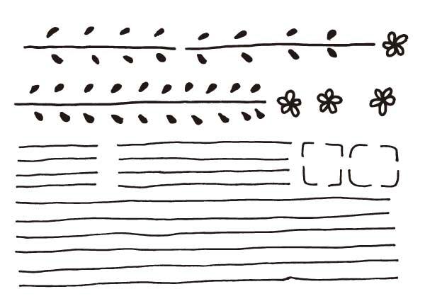 花の飾り罫とノーマルな手描き枠のイラストレーター Ai 素材 イラスト