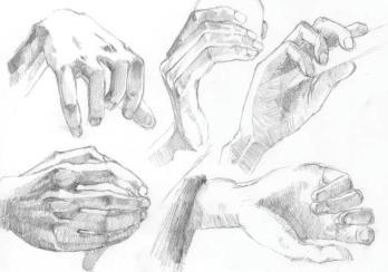 手 指 腕 鉛筆デッサン