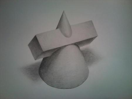 鉛筆デッサン 立体オブジェクト 円すい 四角すい