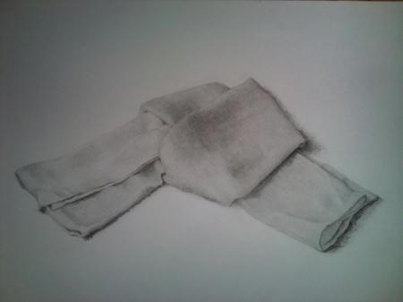 鉛筆デッサン 布 タオル
