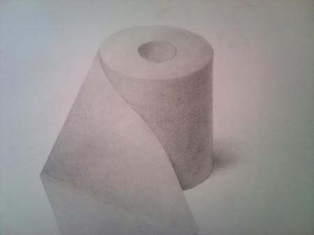 鉛筆デッサン トイレットペーパー モノクロ 紙