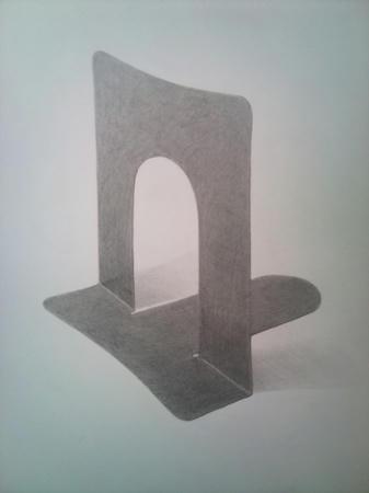 ブックエンド 本立て 鉛筆デッサン モノクロ 金属 白黒
