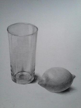 鉛筆デッサン:グラスとレモン モノクロ 白黒 ガラス 果物