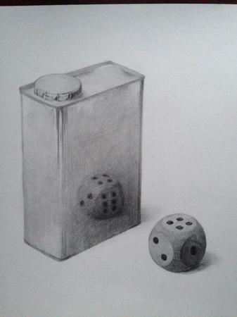 鉛筆デッサン:オイル缶とさいころ モノクロ 白黒 ブリキ缶 金属