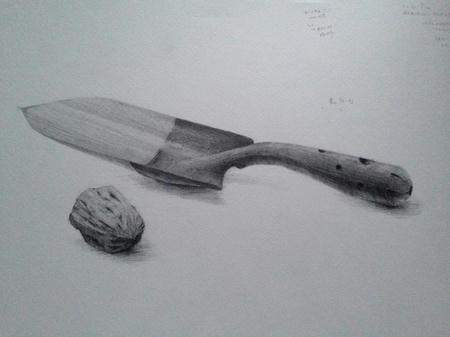 鉛筆デッサン:スコップとくるみ モノクロ 白黒 金属 胡桃
