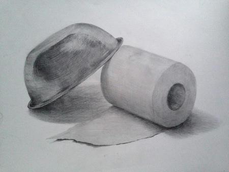 鉛筆デッサン:ボウルとトイレットペーパー モノクロ 白黒 金属 薄い紙