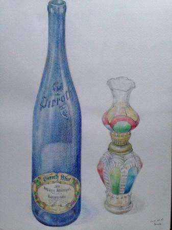 水彩色鉛筆 pieroth blue 透明な青いワイン瓶