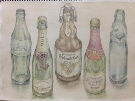 水彩色鉛筆画:ガラスボトル~炭酸シリーズ~ ラムネ瓶 コーラ瓶 シャンパンボトル ドイツ風?ビール瓶