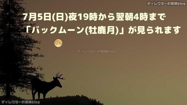 """7月5日(日)夜19時から翌朝4時まで「バックムーン(牡鹿月)」が見られます"""""""