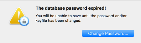 The database password expired! You will be unable to save until the password and/or keyfile has been changed.
