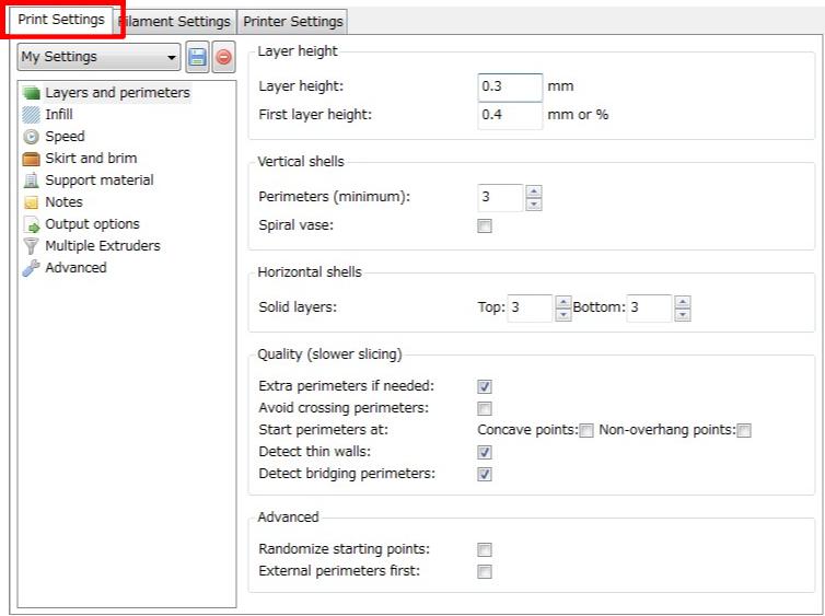 3Dプリンタ,Slic3r,設定,方法,Repetier,使い方,Print settings
