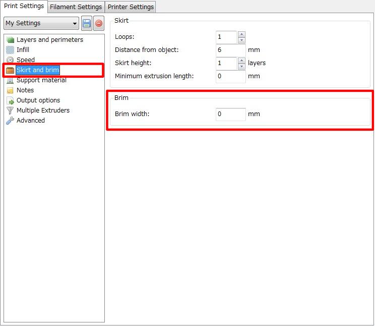 3Dプリンター,Slic3r,設定,方法,Repetier,使い方,Print settings,Skirt and brim_skirt,Brim,Brim width