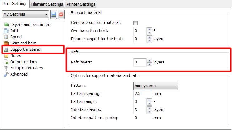 3Dプリンター,Slic3r,設定,方法,Repetier,使い方,Print settings,Raft,ラフト,Raft layers