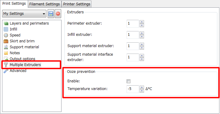 3Dプリンター,Slic3r,設定,方法,Repetier,使い方,Print settings,Output optioin,Multiple Extruders,Ooze prevention