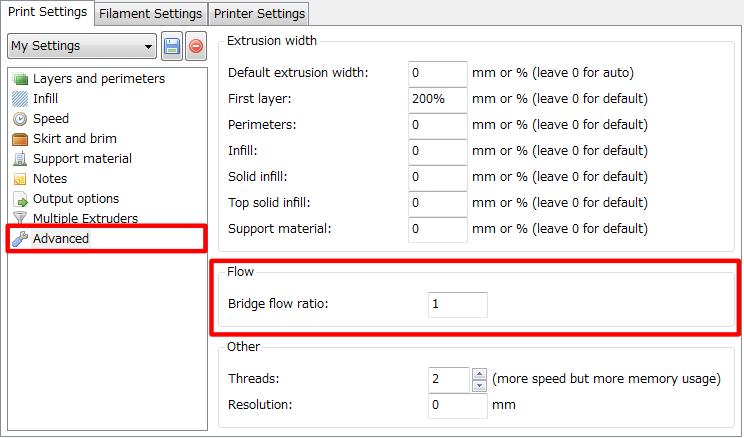3Dプリンター,Slic3r,設定,方法,Repetier,使い方,Print settings,Advanced,Extrusion width