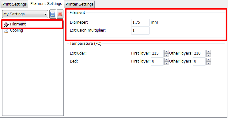 3Dプリンター,Slic3r,設定,方法,Repetier,使い方,Filament settings,Filament,Filament