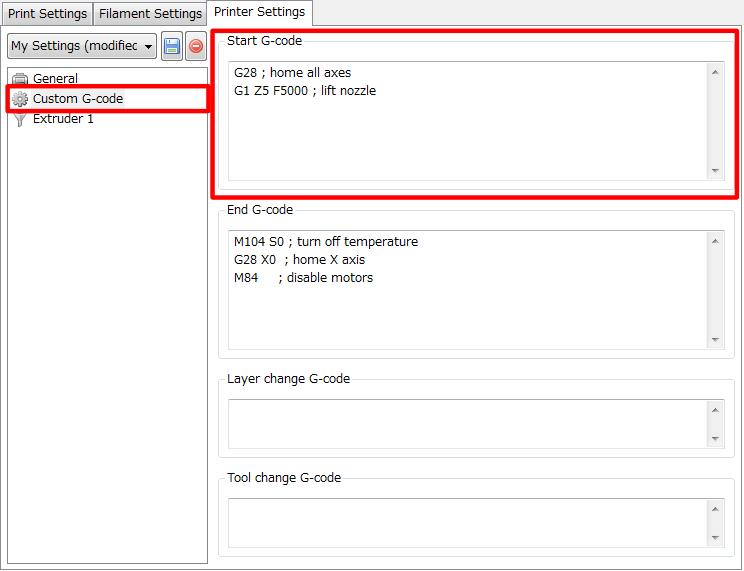 3Dプリンター,Slic3r,設定,方法,Repetier,使い方,Printer settings,Custom G-code,Start G-code