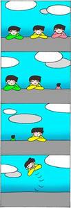 4コマ漫画 「最後の一人」