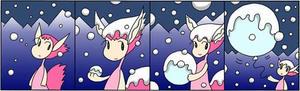 4コマ漫画 「雪の日」