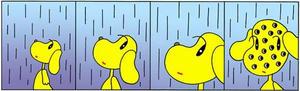 4コマ漫画 「雨」