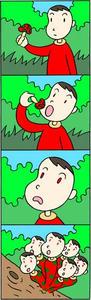 キノコ・茸・群生・変身・男性・森の中