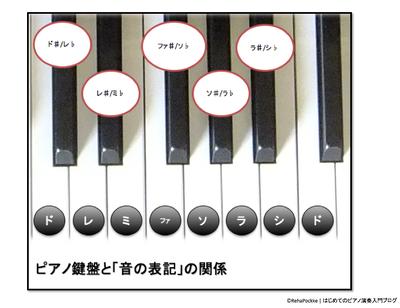 ピアノ鍵盤と音の表記の関係   イメージ