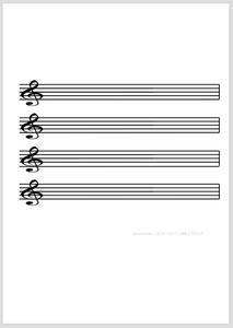 五線譜:4段(ト音記号) | サンプル画像イメージ