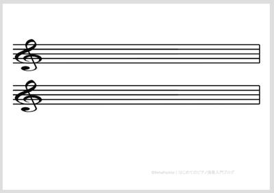 五線譜:2段(ト音記号)横向き   サンプル画像イメージ