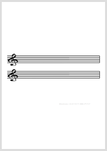 五線譜:2段(ト音記号)縦向き | サンプル画像イメージ
