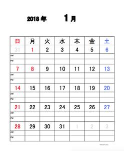2018年1〜12月カレンダーサンプル画像