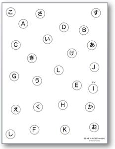 注意課題・TMT様課題 - 縦版(五十音 + アルファベット)| イメージ