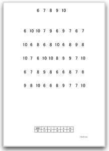 【大きい文字版】注意抹消・キャンセレーション課題(数字抹消課題:6-10)| 画像イメージ