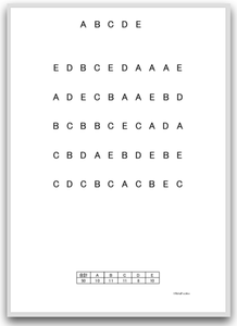 【大きい文字版】注意抹消・キャンセレーション課題(文字抹消課題:ローマ字A〜E)| 視覚性抹消課題 画像イメージ