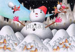雪だるまとクリスマス・画像