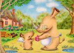 低価格商用イラスト「動物イラスト - サイの母子」
