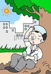 低価格商用イラスト「炎天下 - 熱中症・日射病」
