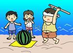 暑中見舞い用イラスト・素材 「スイカ割り・砂浜」