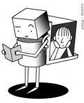 ポストカード用 - ロボット・読書・勉強・勉学・学習
