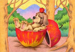 犬・リンゴ・林檎の実・森の中・リラックス・休息