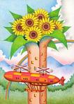 向日葵・ヒマワリの花・サンフラワー・飛行船・タワー