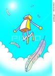 ロボット・羽根・ジャンプ・白い雲・青空・跳躍