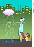 雨降り・雨雲・レインコート・雨傘・工場・捨て犬