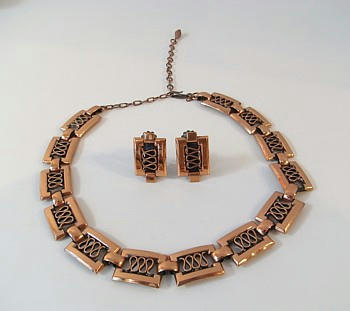 Renoir Copper Grecian Necklace&Earrings