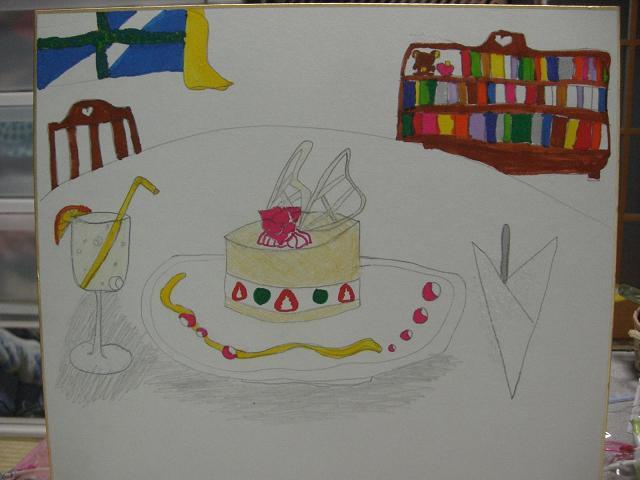 棚とケーキ