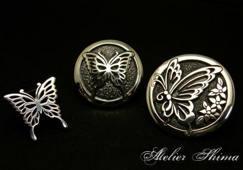 Swallowtail Butterfly がモチーフの新作のコンチョになります。スカルだけじゃないのよ!