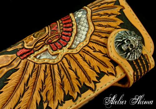 「BURNBURN」のインディアンスカルのウォレット×「Atelier Shima」のHalf Indian Chief Skull Concho