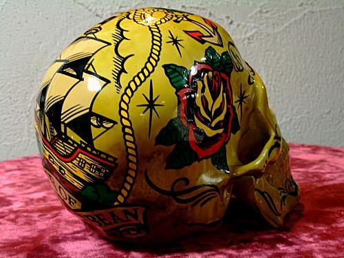 GRIMB krazy painting グリムさんにお願いしたSkull 側頭部には薔薇の花