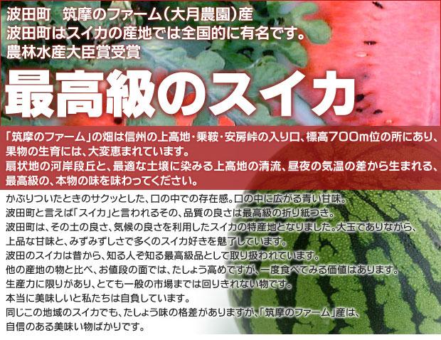波田町はスイカの産地では全国的に有名です。農林大臣賞受賞のスイカ。