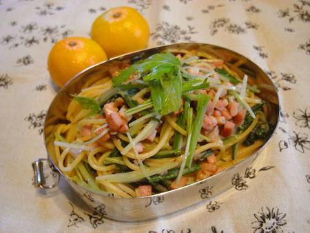 水菜ベーコンのレモンパスタ弁当