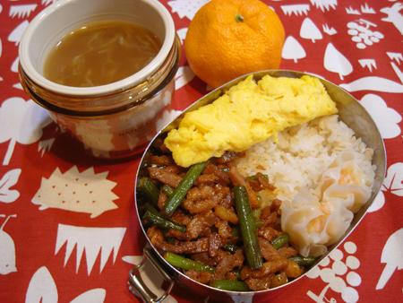 ニンニクの芽と豚の味噌炒め弁当
